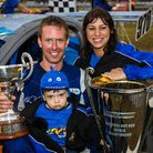 World champion Shane Murphy shares the moment with his wife Paula and nineteen month old son Iain fo