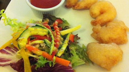 Deep fried prawns with chili dip. The King's Head, Hadleigh