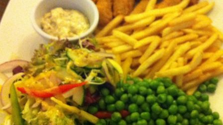 Scampi and chips. The King's Head. Hadleigh