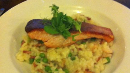 Pan fried trout with bacon, peas and prawn risotto. The King's Head, Hadleigh