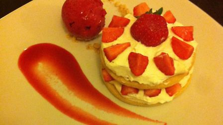 Strawberry shortbread stack with chantilly cream. The King's Head. Hadleigh