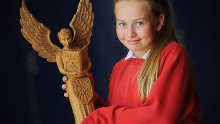 School pupil Holly Lummis with the angel