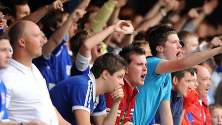 """Town fans chant """"we want our money back"""" at Peterborough in 2011"""