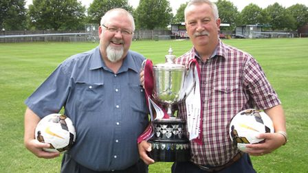 Omni Freight Services directors Shaun Rudduck, left, and Andy Wilding with the Suffolk FA Premier C