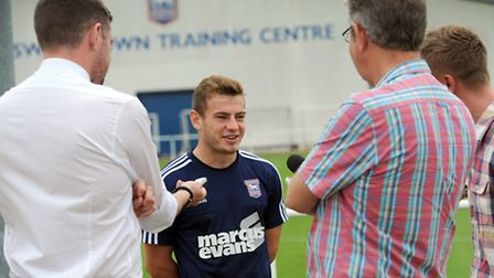 New Ipswich Town signing Ryan Fraser talks to the media yesterday.