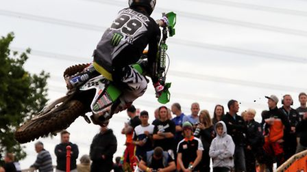 The view the MX2 field had of Max Anstie at the British Championship Motocross at Blaxhall