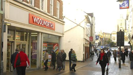 Woolworths in Diss on Mere Street during the closing down sale in December 2008 before it closed for