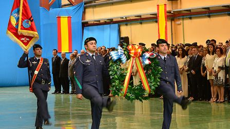 Members of the Spanish Armed Forces lay a wreath in honor of the 11 fallen French and Greek servicem
