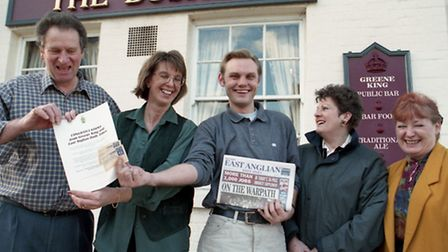 Football competition winners receive their tickets at The Bushel in Bury January 1998