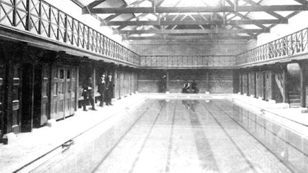 Fore Street swimming pool in a Victorian photograph taken soon after the opening in 1894.