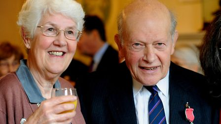 Tom Gondris with his wife Pat after getting the MBE in 2009.
