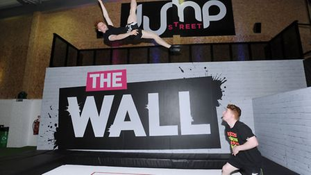 The launch of Jump Street in Colchester, the first dedicated trampoline park. Josh Newman (left) and