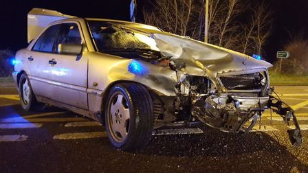 The aftermath of a crash at the Hempnall crossroads on the A140 neat Long Stratton. Picture: Norfolk