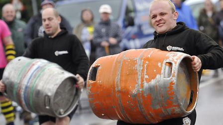 Gavin Ball and Harvey Yallop compete in the Suffolk Strongest Man Competition in Sudbury.