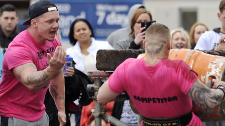 Damien Taylor cheers on Michael King in the Suffolk Strongest Man Competition in Sudbury.