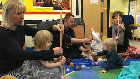 Parents and children take part in a Musical Keys session at Diss children's centre. Picture: Bethany