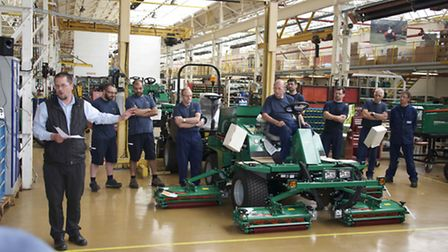 Ransomes Jacobsen operations director Simon Rainger addresses staff as the company's last Ransomes C