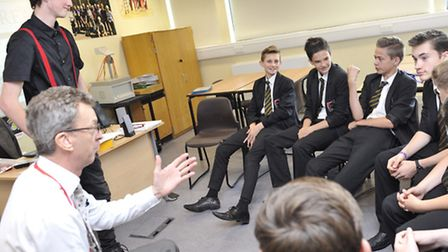 Stephen Edgell runs a Great Men workshop with students at Tendring Technology College.