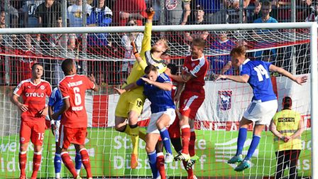 Goalmouth action from Ipswich Town's pre-season friendly at Fortuna D�sseldorf this evening