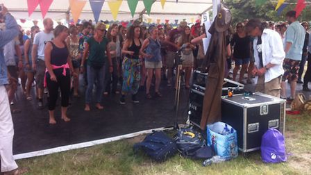Festival-goers take part in a workshiop led by DanceEast at Latitude Festival 2015.