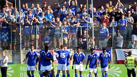Ipswich Town players celebrate a goal against Fortuna Dusseldorf. Photo: Christof Wolff