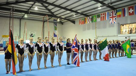 Four-Way International Gymnastics competition featuring Great Britain, Italy, Germany and Brazil at