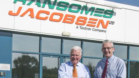 Peter Driver (left) receives his TOCA award from Ransomes Jacobsen managing director Alan Prickett