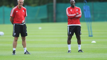 Ipswich Town manager Mick McCarthy and assistant Terry Connor, pictured during the pre-season traini