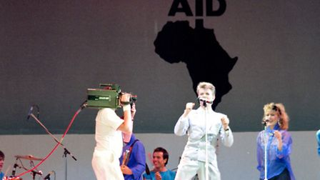 David Bowie performing at Live Aid