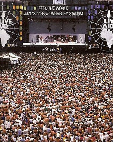 Tens of thousands packed into Wembley Stadium for the July 13, 1985, Live Aid concert