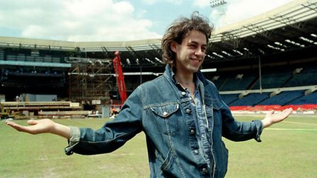 Bob Geldof at an empty Wembley Stadium in the run-up to the concert
