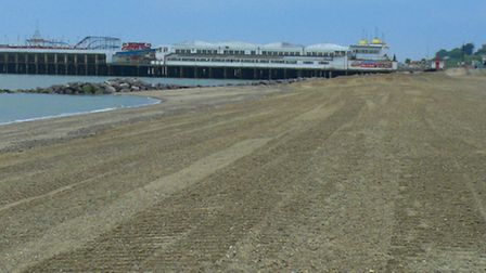 One of the new beaches at Clacton created by the sea defence scheme.