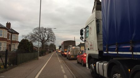 Congested traffic on Victoria Road in Diss as an 11-day roadworks stint by Anglian Water begins. PHO