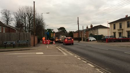 Congested traffic on Victoria Road in Diss. Roadworks by Anglian Water will take place until January