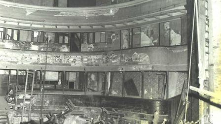 The auditorium after the barrels had been removed