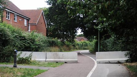 Concrete barriers erected in Grange Farm to stop any future unathorised encampments in the area.