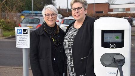 Councillors Alison Thomas and Lisa Neal at the launch of electric vehicle charging stations in Long