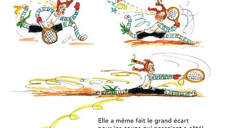 A page from Dilly Joue au Tennis a Paris, showing illustrations by Liz Summers and the story by Chri