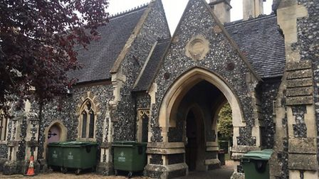 Waste bins are currently located next to the chapel at Diss Cemetery but would have been moved under