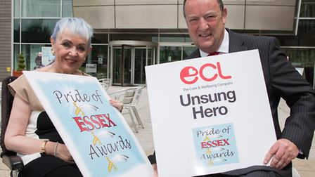 Susie Cornell, founder of the Pride of Essex awards, with Mike Fitzgerald of ECL