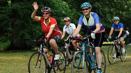 The Women on Wheels bike ride sets out from Nowton Park near Bury.