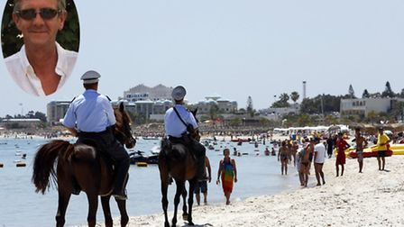 Mounted police officers patrol on the beach of Sousse, Tunisia. Inset image of Stuart Cullen.