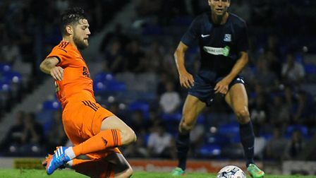 Anthony Wordsworth scores for Ipswich in a pre-season friendly at Southend last summer.