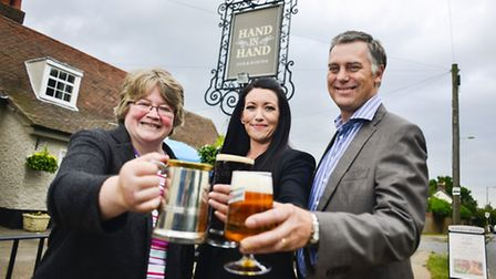 Left to right, Dr Th�r�se Coffey MP, Louise Askins, Punch Taverns Partnership Development Manager Ru
