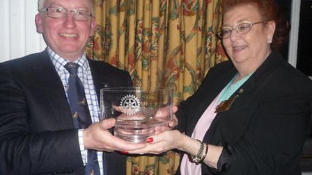 David King - Ipswich Rotary Mastermind 2014 District Governor Elect Dorothy Pulsford-Harris pres