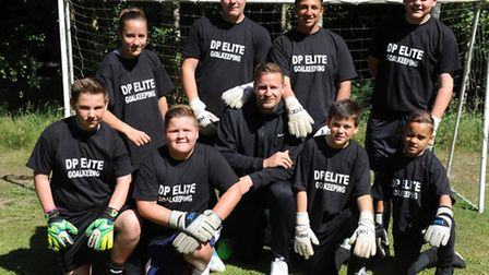 DP Elite Goalkeeping coach Danny Potter with students Frankie, Sienna, Alfie, Ross, Justin, Rococo,