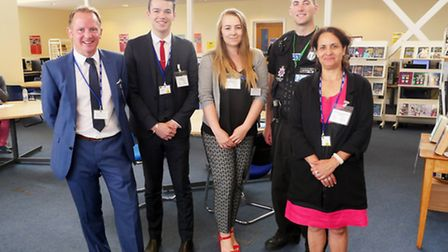 Tendring Technology College alumni, left to right : Kevin Smith, Brendan Field, Becky Long , Liam