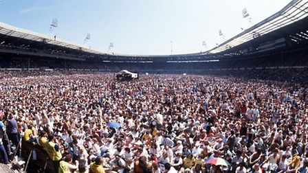 The Live Aid concert at Wembley Stadium on July 13, 1985, was a defining moment. Photo credit sho