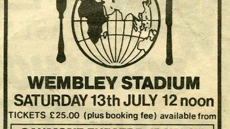 COME AND MAKE HISTORY: The original advert for the Live Aid concert that appeared in the East Anglia