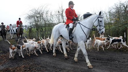 Last year's Bury St Edmunds' Boxing Day Hunt sets off from Hawstead, Pinford End.